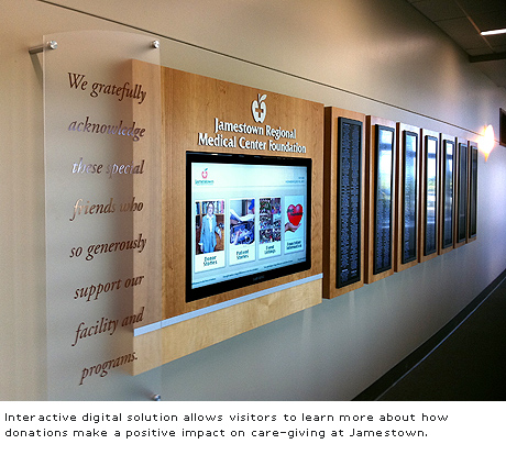 digital signage integrated into donor recognition wall